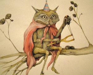 owl in a birthday hat